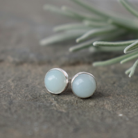 Amazonite Gemstone Studs - Sterling Silver Earrings