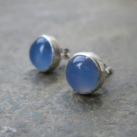 Blue Onyx Sterling Silver Stud Earrings