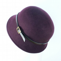 Plum Felt Cloche Hat - Womens Winter Hat, 1920s Cloche
