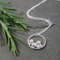Sterling Silver Pebble Necklace, Ring Pendant, Silver Nugget, Handmade Jewellery