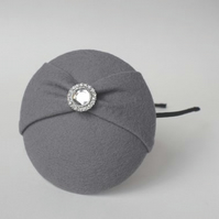 Grey Felt Fascinator Hat - Mini Button Hat, Hair Accessory, Headband