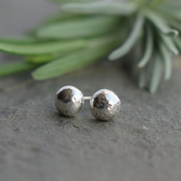 Studs, silver stud earrings, sterling silver pebble nugget earrings
