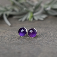 Purple Amethyst Stud Earrings - Sterling Silver Gemstone Studs