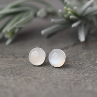 Moonstone Stud Earrings - Sterling Silver Studs