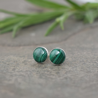 Malachite Green Stud Earrings - Sterling Silver Studs