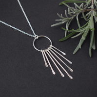 Silver Fringe Necklace - Contemporary Layering Pendant