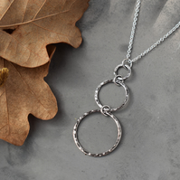 Hammered Silver Ring Pendant - Sterling Silver Hoop Necklace