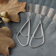 Geometric Silver Wire Earrings - Statement Contemporary Drop Earrings