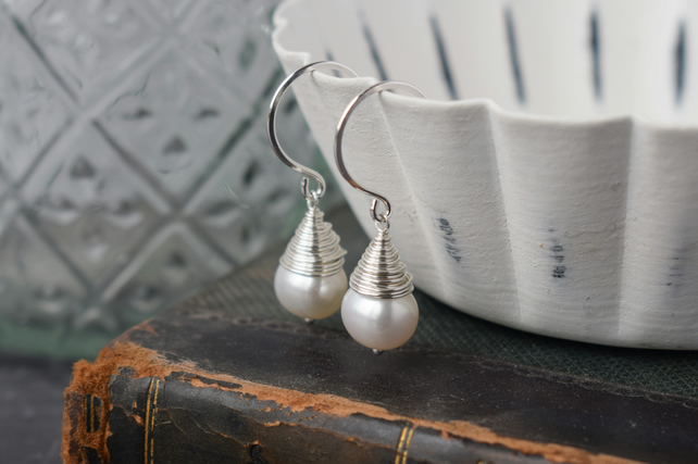 Pearl Wire Wrapped Drop Earrings - Wedding Jewellery for Brides, Bridesmaid Gift
