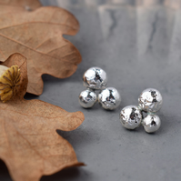 Sterling Silver 'Berries' Stud Earrings, Silver Pebbles
