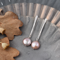 Coin Pearl Drop Earrings - Hammered Silver Bar Earrings