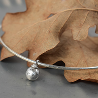 Silver bangle with pebble charm - womens silver bracelet, 25th anniversary gift