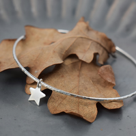 Silver Bracelet with Star Charm - stacking bangle handmade in Yorkshire