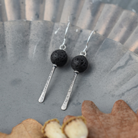 Black Lava Rock and Hammered Silver Drop Earrings handmade in Yorkshire