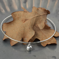 Hammered Silver Bracelet with Silver Nugget Charm
