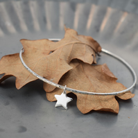 Silver Star Bracelet - Celestial Jewellery, Magic - Layering Bangle
