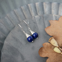 Lapis Lazuli Gemstone Earrings - Silver Wire Wrapped Drop Earrings
