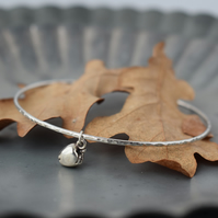 Silver Apple Bracelet - Gift for Teacher, Layering Bangle