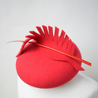 Womens Felt Headpiece - Red Cocktail Hat for Weddings, Races