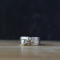 Sterling Silver Layering Rings DEWDROPS