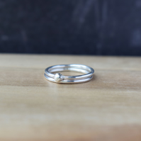 Sterling Silver Stacking Ring DEW -  HandmadeThin Silver Ring Set
