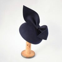 Navy Blue Felt Fascinator Hat - Womens Races Headpiece