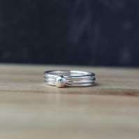 Sterling Silver Stacking Rings DEWDROP - Handmade Silver Ring Set