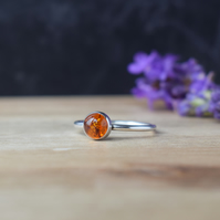 Amber Ring - Sterling Silver Stacking Ring - Cancer Birthstone