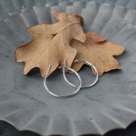 "1"" Sterling silver hoop earrings"