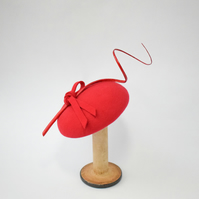 Red Felt Wedding Hat - Womens Races Headpiece - Millinery