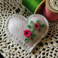 White heart floral brooch