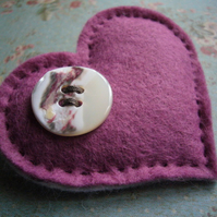 Wholesale Button Pink Heart  Brooch