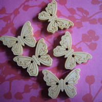 3 wooden butterfly Buttons