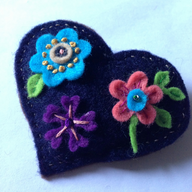 Embroidered Valentine Heart  Brooch