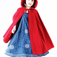 Red Riding Hood Cape for child in colours white black blue grey brown pink green