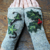 "Fingerless Mittens - ""The Holly and the Ivy"""