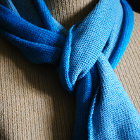 Two-Tone Scarf in Pure Merino Wool - Jade & Duck Egg Blue