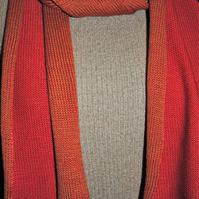 Two-Tone Scarf in Pure Merino Wool - Burnt Orange & Scarlet