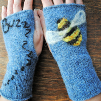 "Fingerless Mittens - ""Busy Busy Buzzy Bee"""