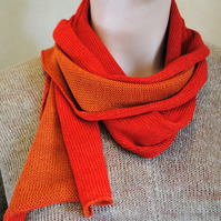 Two-Tone Scarf in Pure Merino Wool - Scarlet & Burnt Orange