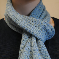 Pure Cotton Lacy Scarf in Aqua