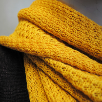 Pure Cotton Lacy Scarf in Mustard