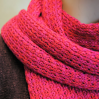 Pure Cotton Lacy Scarf in Rosa Rugosa