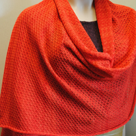 Pure Cotton Lacy Shawl in Spice