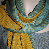 Two-Tone Scarf in Pure Merino Wool - Duck Egg Blue & Autumn Gold