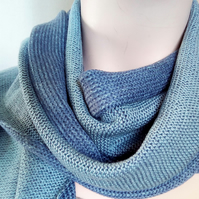 Two-Tone Scarf in Pure Merino Wool - Blue Jeans & Duck Egg Blue