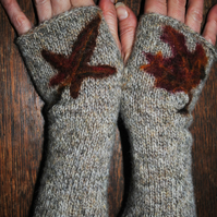"Fingerless Mittens - ""Autumn Leaves"""