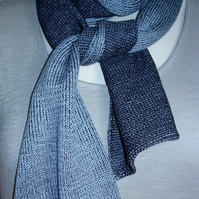 Two-Tone Scarf in Pure Merino Wool - Pale Grey & Charcoal
