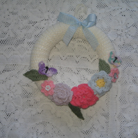 Crochet Flower Wreath Wallhanging