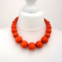 Orange Chunky Wooden Bead Necklace